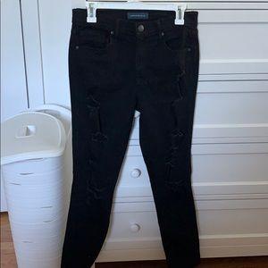 Size 10 Aeropostale Black Ripped Jeggings